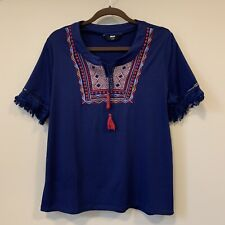 Junior Youth Girls Bohemian Boho Embroidered Short Sleeves Top Size L/14