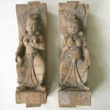 ANTIQUE PAIR OF CARVED WOOD DANCING FIGURES NEWARI FROM OLD HOUSE NEPAL