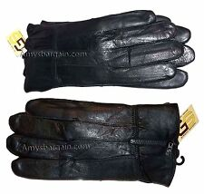Men's Leather Gloves, (M) Zip up Men's Gloves, Winter Gloves, lined warm Gloves