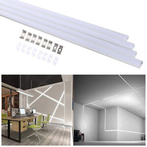 4 Sets LED Channel System Silver U-Shape LED Diffuser with Milky White Cover