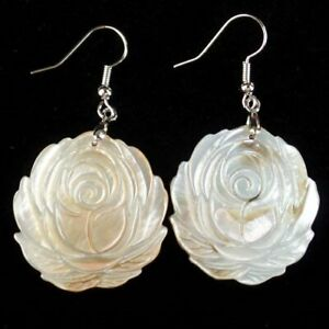 29x2mm/48mm 1Pair Delicate Carved Abalone Shell Flower Pendant Earring EH1375