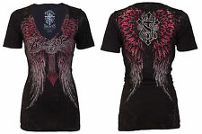 Rebel Saints AFFLICTION Womens T-Shirt BABY GIRL Cross Wings Tattoo Biker $40