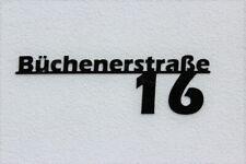 Hausnummer Acryl Hausnummernschild mit Straßenname Schwarz Glanz Plexiglas