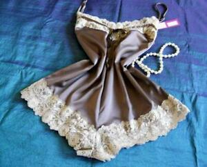 Womens Cami-Knickers Teddy L Chocolate Satin Ivory Lace Camisole Panties PJs