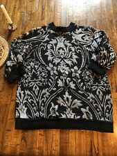 Vintage Holiday Knit Sweater Black Silver Metallic Floral Christmas S M Top 80s