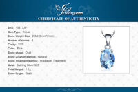 Natural 2.3 ct Blue Topaz Pendant with 925 Sterling Silver Necklace UK Seller