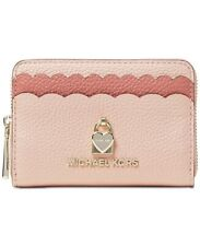 MICHAEL KORS~Heart Bi-Color Scallops Card/Coin MINI Wallet~LEATHER~Soft Pink~NWT