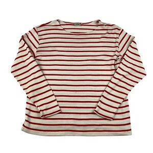 L.L.Bean Stretchy Sweater Womens M Meium Red And White Striped Pullover Top