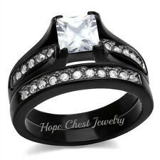 Wedding Ring Set Size 5 - 11 Hcj 1.3 Ct Black Stainless Steel Princess Cz