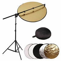 Light Stand Collapsible Reflector Holder Arm Boom 80cm 5-in-1 Studio Reflector