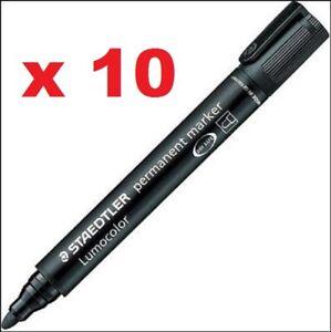 10x Staedtler Lumocolor permanent marker 352 bullet tip al surfaces fast dry BLK