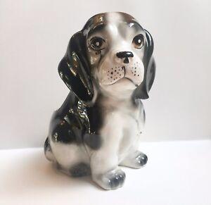 Tilso Black & White Hound Dog Puppy w/Tear Drop Vintage Planter Japan
