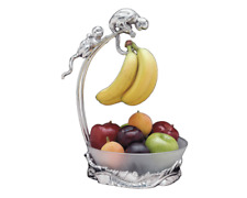 Arthur Court Monkey Banana Holder With Glass Fruit Bowl