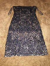 Sue Wong Black/Nude Beaded Lace Strapless Dress. Sz 6. New!!