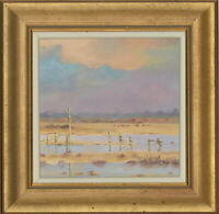 Peter Heath - Framed Contemporary Oil, Dusk Over the Flooded Marsh