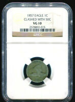 1857 Flying Eagle Cent Error Clashed with 50C NGC VG10