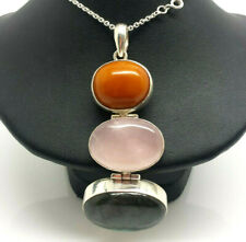"Amber Rose Quartz Labradorite Sterling Silver 925 Necklace 39g 15.75"" KWD975"