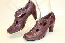 Indigo by Clarks Womens 7.5 M Purple Leather Mary Janes Heels Pumps Shoes 83892