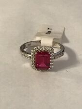 925 Silver Cz Ruby Cocktail Ring Size T