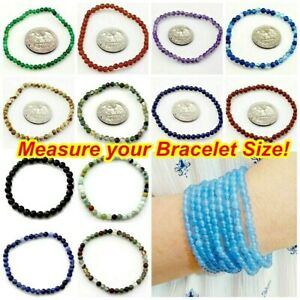 Handmade Round Beaded Bracelet Stretch Healing Reiki Natural Gemstone Kids Small