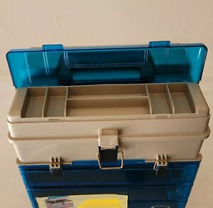 Plano Plastic Fishing Tackle Box #1234 Lid storage Multi-use compartments Hobby