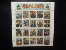 CIVIL WAR mint sheet 20 diff stamps Robert E Lee Jefferson Davis Abe Lincoln