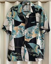 MALIHINI Black Multi Butterfly Floral Fierce Ancient Bird Hawaiian Shirt~L~Mint!