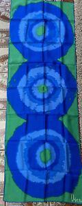 """Vera Neumann Scarf Silk 43"""" Oblong Green Blue Japan Hand Rolled Abstract"""
