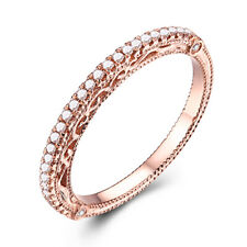 0.2CT Natural Diamond Vintage Classic Engagement Band Solid 18k Rose Gold Ring