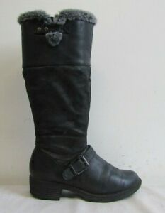 M&S COLLECTION WOMENS CALF LENGTH BOOTS SIZE UK 7 BLACK FAUX LEATHER