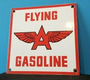 VINTAGE FLYING A GASOLINE PORCELAIN GAS AVIATION SERVICE STATION PUMP SIGN
