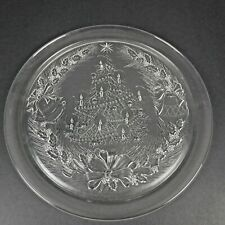 "Vtg Duralex France Clear Glass Christmas 12 1/2"" Plate Cookie Round Tray Tree"
