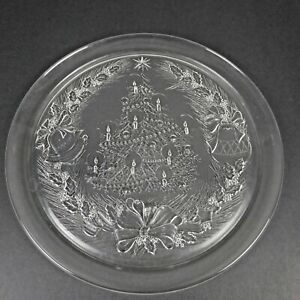 """Vtg Duralex France Clear Glass Christmas 12 1/2"""" Plate Cookie Round Tray Tree"""