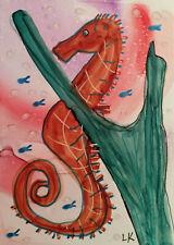 ACEO original seahorse plants fish ocean painting by Lynne Kohler