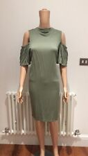 Oliver Bonas Khaki Green With Shoulder Cut Outs High Neck Midi Loose fit dress
