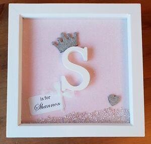 Personalised Box Frame Initial New Baby/ Christening/ Baptism/ Birthday gift