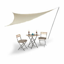 Relaxdays Sonnensegel mit Stange, groß, dreieckiger Schattenspender, beige