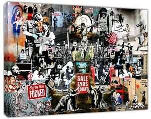 BANKSY Collage The Best Collection Print On Framed Canvas Wall Art Home Decor