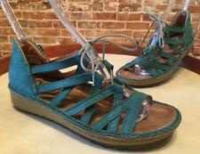 Naot Teal Leather Lace Up Yarrow Wedge Comfort Sandal 40 9 New