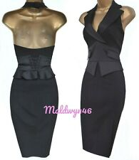 KAREN MILLEN ✩ CLASSIC BLACK TUXEDO WAISTCOAT CORSET HALTER PENCIL DRESS ✩ UK 10