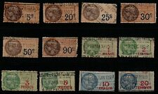 """France, selection of 12 """"Timbre Fiscal"""" to 20fr, revenue/fiscal stamps used."""