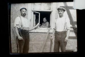 Negativ Glasplatte Handwerker Zimmermann Tischler  um 1920