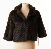Massimo Womens Brown Black Faux Fur Fuzzy Winter Coat Size Small NWT