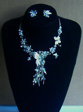 Necklace & Earring set Butterfly White & Crystal
