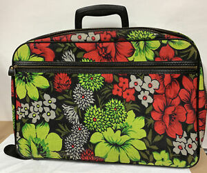 Vintage Bantam Travelware Luggage Floral Canvas Suit Case With KEY.  RED GREEN
