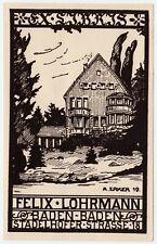 Exlibris Bookplate * A. ERKER 1919 * Linol für Haus Felix Lohrmann Baden-Baden