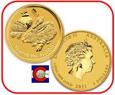 2011 Lunar Rabbit 1/20 oz $5 Gold Coin, Series II, Perth Mint in Australia
