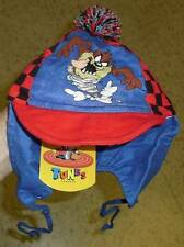 Taz Looney Tunes baby toddler hat bonnet ear flaps pom New w/ Tags RaRe