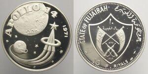 Fujairah 10 Riyals 1970 Proof Perfect Coin ! Silver Apollo 14 (g41)