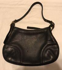 COACH Black Perforated Leather Hobo Handbag #9217